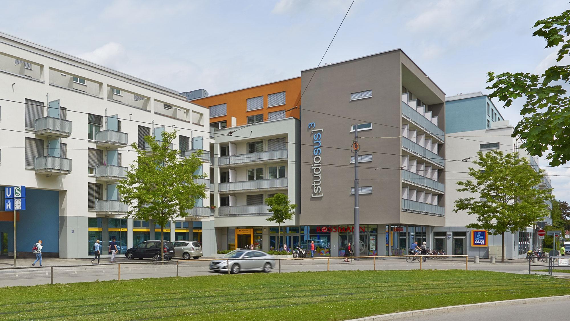 Neubauprojekt studiosus 3 in München - Außenansicht der Wohnanlage mit Studentenapartments in zentraler Lage