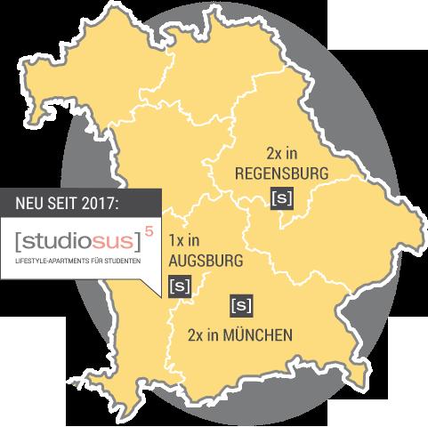 Deutschlandkarte mit den Standortes der Studiosus Studentenwohnungen in Bayern – 2x in München, 2x in Regensburg, ab 2017 in Augsburg
